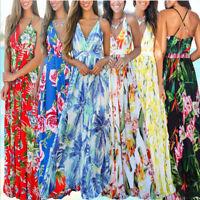 Summer Women V-Neck Floral Sleeveless Party Beach Holiday Casual Long Maxi Dress