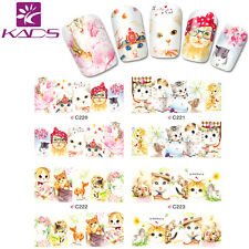 1Sheet Cute cat full cover Nail Art Stickers Water Transfer Decal Fancy Super