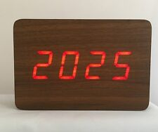Block - The Wooden LED Clock - Brown with Red LED