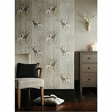 STAG CREAM WOOD CABIN WALLPAPER - ARTHOUSE 623001 - NEW DEER VIP