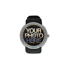 Men's Silver Custom Photo Watch Picture Personalised Gift Design Logo Image