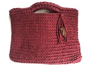 Maroon Red Woven Crochet Nylon Hobo Purse Hand Bag EUC