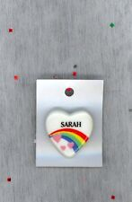 Rainbow & Hearts Fashion Pin Brooch Personalized SARAH - GIFT - Stocking Stuffer
