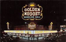 Nevada postcard Las Vegas Golden Nugget Gambling Hall night scene casino