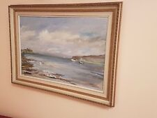 Vintage Oil Painting On Canvas 'Boats' Signed By F. N. Jannet