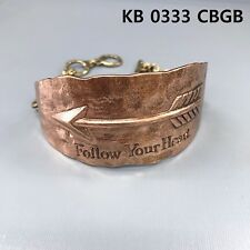 Copper Finish Embossed Arrow Follow Your Heart Engraved Cuff Bangle Bracelet