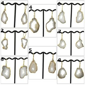 White Natural White Geode Druzy Quartz Yellow Gold Plated Hook Drusy Earring