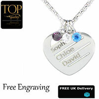 Personalised Love Heart Birthstone Necklace Any Names Engraved Silver Jewellery
