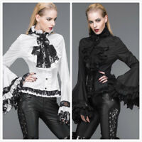 Devil Fashion Vampire Shirt Top Steampunk Victoria Goth Lace Rose Blouse +Cravat