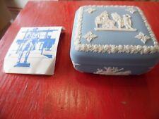 Vintage Wedgwood Jasper blue & white porcelain trinket box