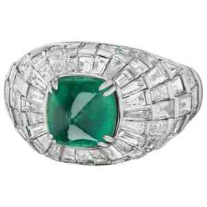 One Of A King 5.23CT Sugarloaf Shape Emerald With Baguette Shape CZ Dome Ring