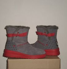 UGG I Heart KNOTTY Wedge Boot 6US (Fits Girls 4) Grey Hearts Suede NIB $109 MSRP