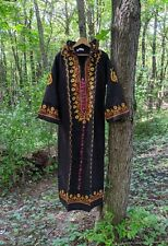 60s Vtg Embroidered Hooded Maxi Dress Cotton India Boho Hippie Caftan L NOS 70s