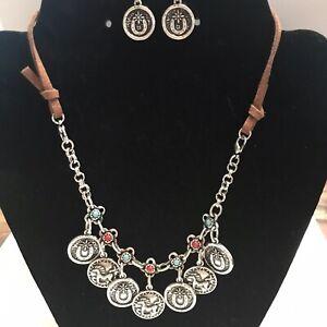 taramanda Earrings & Charm Choker Necklace Brown Leather Band Horse Shoes J521