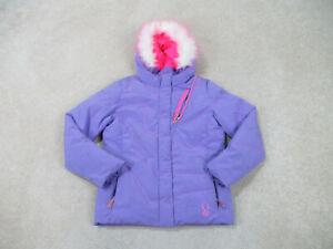 Spyder Jacket Girls Medium Size12 Purple Outdoors Full Zip Coat Kids Youth *