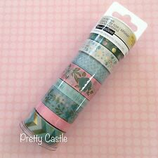 New Recollections Planner Washi Tape Tube set - Honeydew Flower Pink Gold Foil
