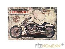 Plaque Métal Déco Vintage - Moto Approved (20x30cm)