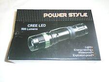 NEW POWER STYLE CREE LED 500 LUMENS FLASHLIGHT BLACK/GREEN W/RECHARGABLE BATTERI