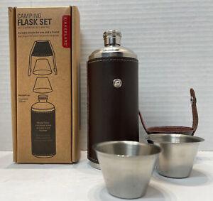Kikkerland Camping / Travel Flask with Leather Case & 2 Shot Glasses Holds 8oz