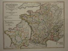 1846 SPRUNER ANTIQUE HISTORICAL MAP ~ FRANCE ECCLESIASTICAL DIVISION 1322