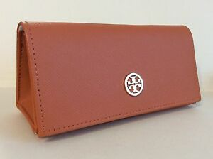 TORY BURCH Orange Textured Leather Sunglass Snap Closure Case Pouch Preowned