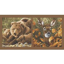 Northwoods Bear Deer Fabric Panel #6978 Premium Cotton Quilt Fabric Andover