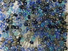 Vtg 100 GRAM DENIM BLUE MIX  SEED BEADS-DEAD STOCK-COOL!   #090510s