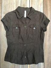 Cache-cache chemise baroudeur manches courtes, marron, taille 2, lin coton.