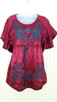 Ivy Jane Embroidered Boho Peasant Blouse Sz S