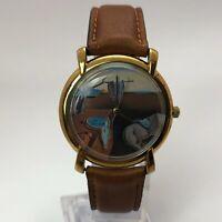 VP Art Watch Mens Dali Japan Movement Quartz Analog Wristwatch Leather Band