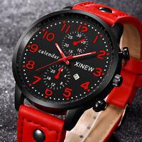 Fashion Men Sports Watch Stainless Steel Date Analog Quartz Leather Wrist Watch