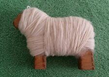 Vintage Handspun Wool on Wooden Sheep Figure Trinket Wood Lamb Rustic Yarn White