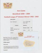 KEN COOTE BRENTFORD 1949-1964 RARE ORIGINAL HAND SIGNED CUTTING/CARD GOOD CON