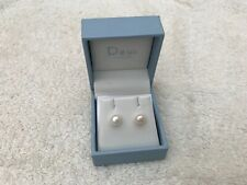 Dew Sterling Silver and Freshwater Pearl Stud Earrings , Boxed