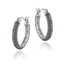 1/5ct Black Diamond Round Hoop Earrings
