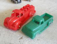 Lot of 2 Vintage Hard Plastic Pickup Trucks Hasbro LOOK