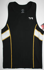 TYR Men's Large Black Gold White Triathlon Singlet Tank Tri Carbon USA Made New