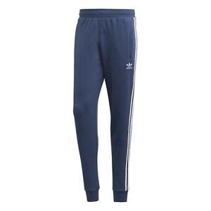 adidas ORIGINALS MEN'S 3-STRIPE TRACK PANTS JOGGERS BLUE TREFOIL LOUNGE NEW BNWT