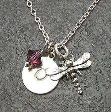 Custom Dragonfly Necklace with Birthstone Crystal from Swarovski Alphabet Charm