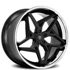 "(4) 20"" Staggered Lexani Wheels Spyder Gloss Black w Chrome Lip Rims (B45)"
