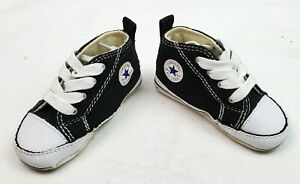 Converse First Star Crib Sneaker 8J231 Black / White Size 4 US/UK 9 -12 Months