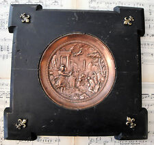 Rare Large French Antique Copper Plaque Repousse Fleur de Lys Wooden Frame c1880