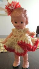 "Vintage 1950's Doll Hard Plastic 6"" in Tall Molded Hair Crochet Handmade Dress"