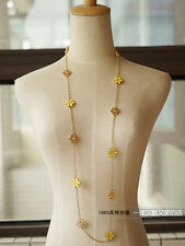 Collier Sautoir Doré Long Filigrane Email Jaune Marguerite Metal Original MYL 2