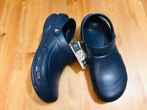 Crocs Bistro clog slip resistant work shoes navy blue men's sz 10 womn's sz 12