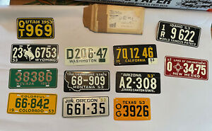 Lot of 12 NOS Bicycle US License Plates General Mills Cereal Premiums 1953