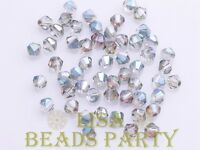 New 100pcs 4mm Bicone Faceted Crystal Glass Loose Spacer Beads Bulk Rose Green