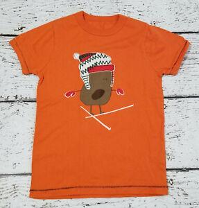 MINI BODEN / JOHNNIE B Boys Orange Appliqued Skiing Tee 8 EUC