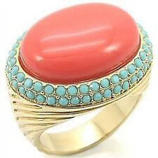 Art Deco Coral Ring Turquoise Crystal Gold Cocktail Stunning Size 10 Retired