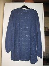 Pull ample en crochet ajouré - manches longues - bleu - 30% lin - M
